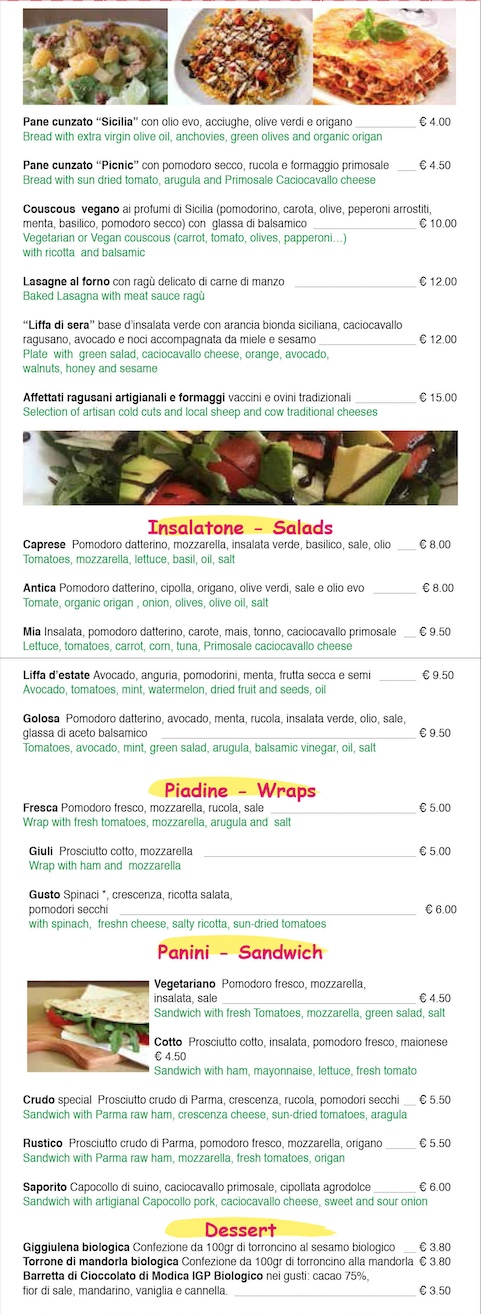 Menù take away PicnicNoto